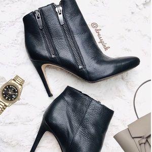 Via Spiga double zipper black leather heel booties